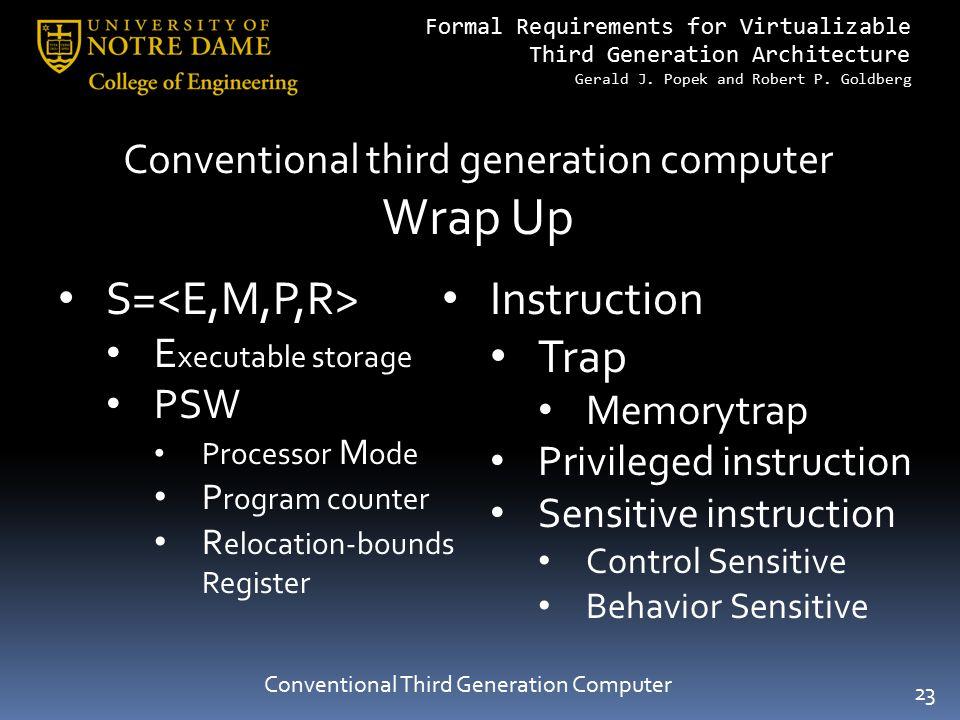 Wrap Up S=<E,M,P,R> Instruction Trap