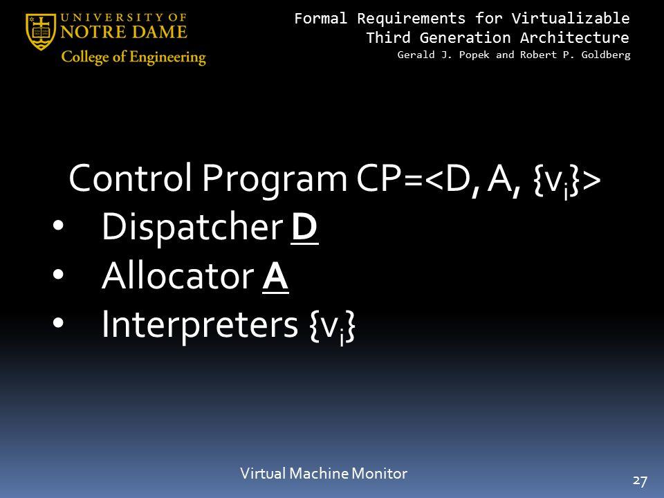 Control Program CP=<D, A, {vi}> Dispatcher D Allocator A