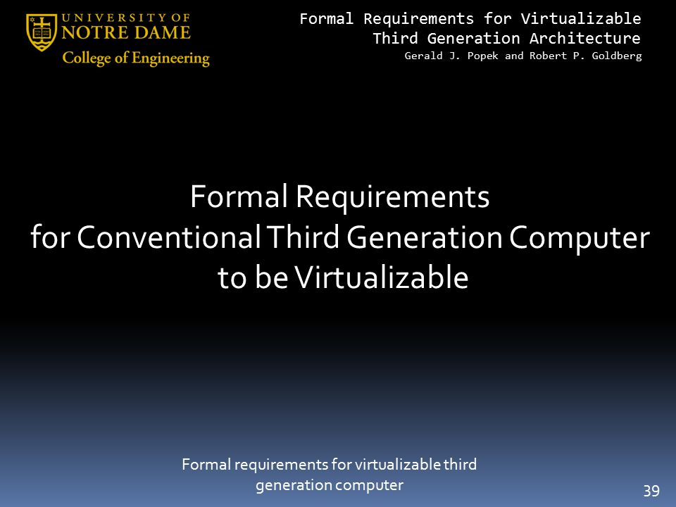 for Conventional Third Generation Computer to be Virtualizable