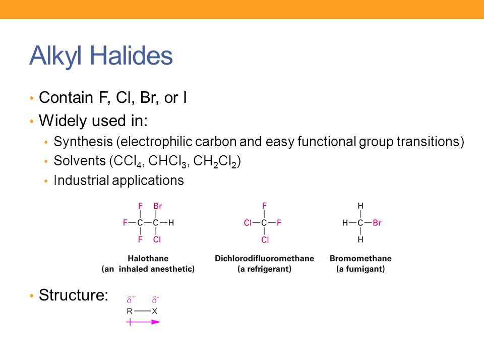 Alkyl Halides Contain F, Cl, Br, or I Widely used in: Structure: