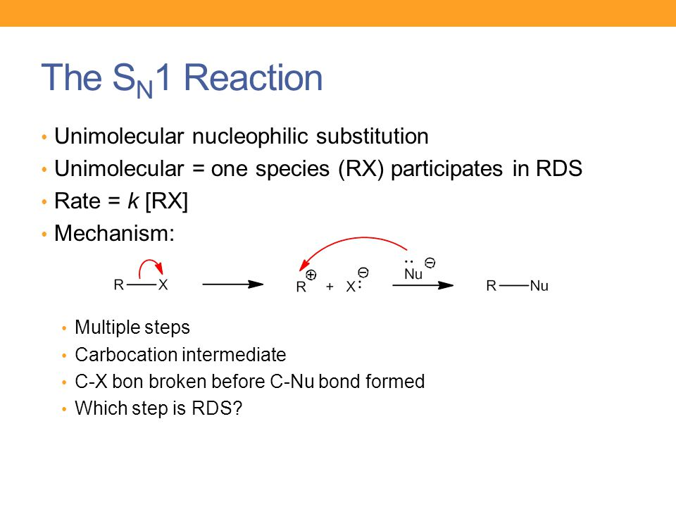 The SN1 Reaction Unimolecular nucleophilic substitution