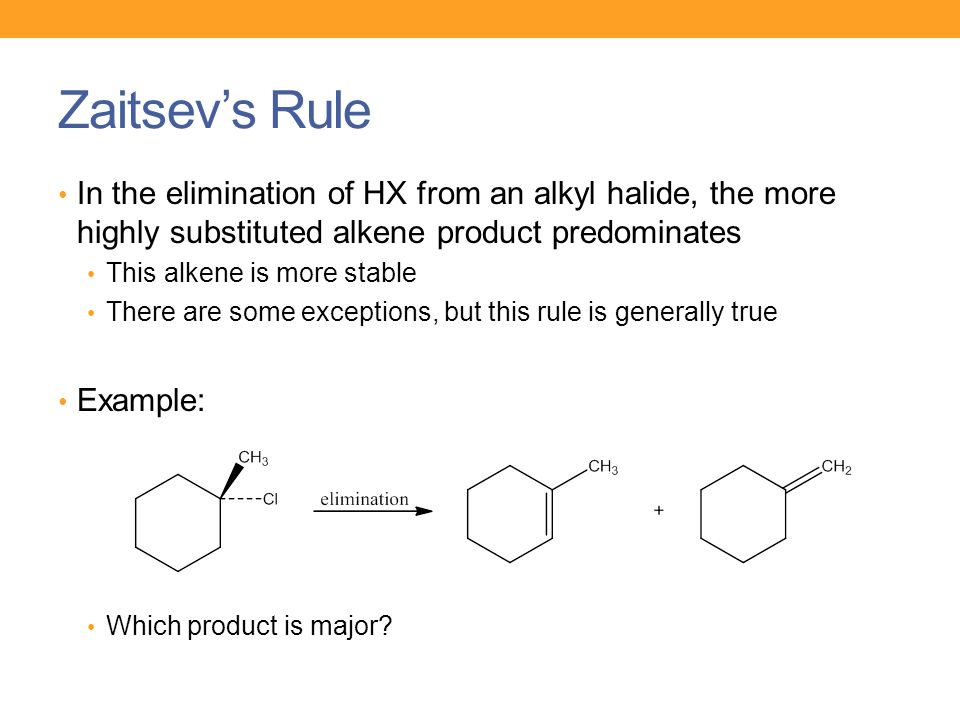 Zaitsev's Rule In the elimination of HX from an alkyl halide, the more highly substituted alkene product predominates.