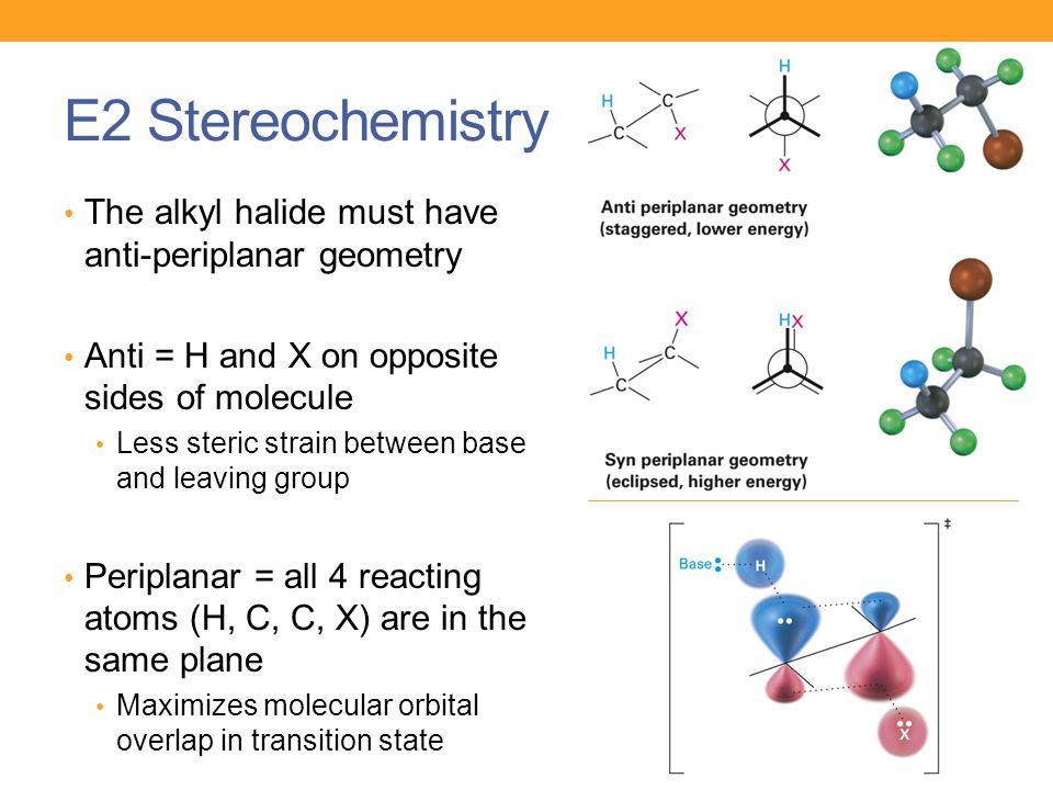E2 Stereochemistry The alkyl halide must have anti-periplanar geometry