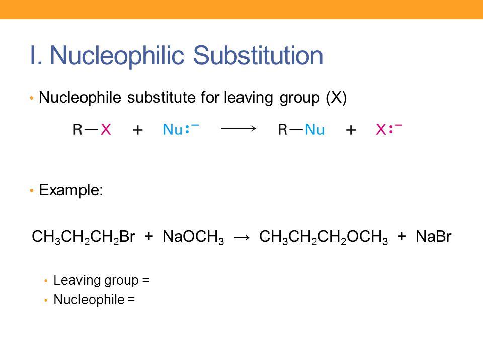 I. Nucleophilic Substitution