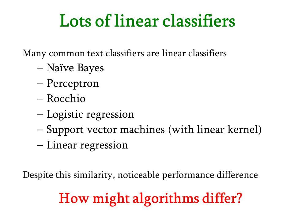 Lots of linear classifiers