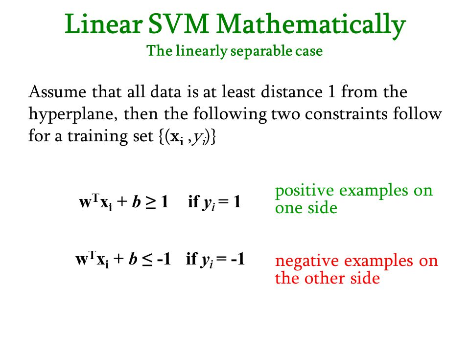 Linear SVM Mathematically The linearly separable case