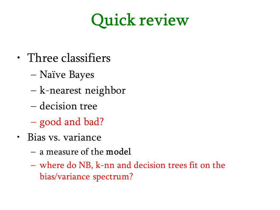Quick review Three classifiers Naïve Bayes k-nearest neighbor