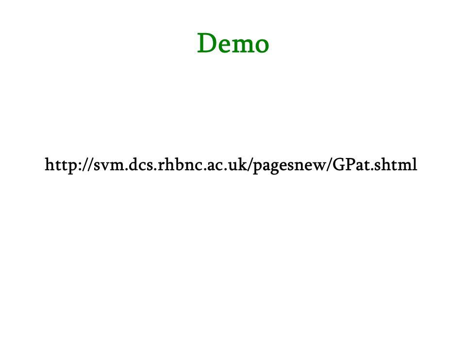 Demo http://svm.dcs.rhbnc.ac.uk/pagesnew/GPat.shtml