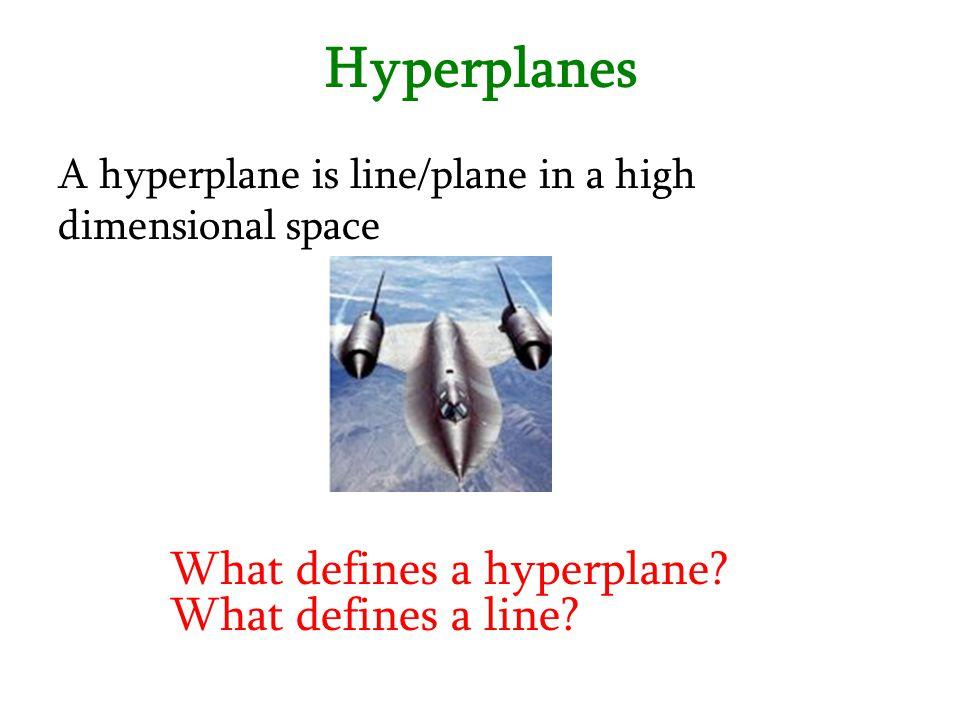 Hyperplanes What defines a hyperplane What defines a line