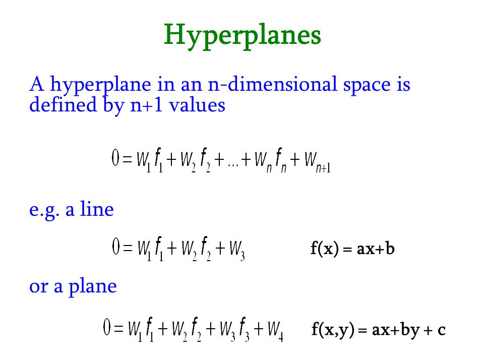 Hyperplanes A hyperplane in an n-dimensional space is defined by n+1 values. e.g. a line. f(x) = ax+b.