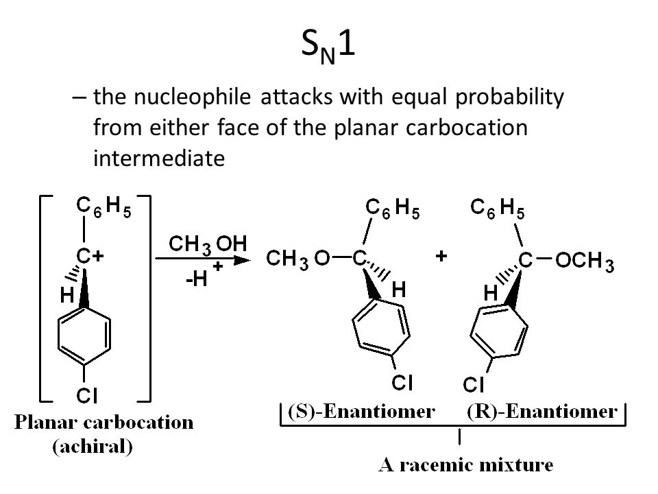 SN1 the nucleophile attacks with equal probability from either face of the planar carbocation intermediate.