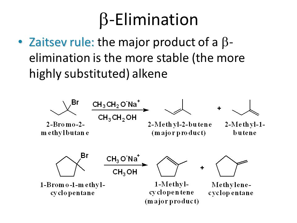 b-Elimination Zaitsev rule: the major product of a -elimination is the more stable (the more highly substituted) alkene.
