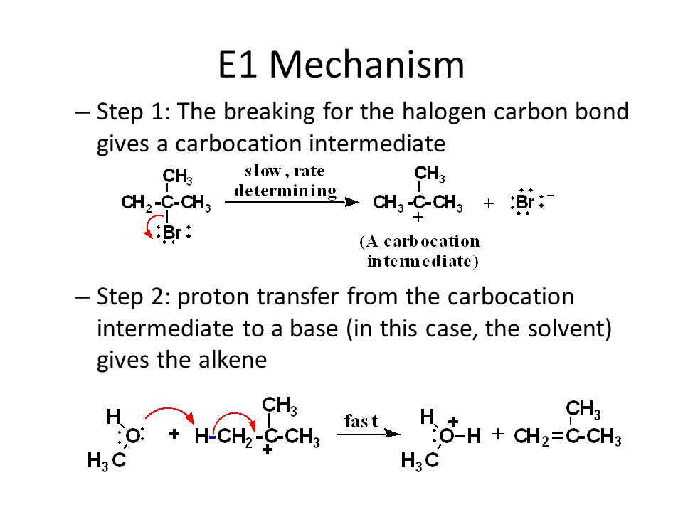 E1 Mechanism Step 1: The breaking for the halogen carbon bond gives a carbocation intermediate.