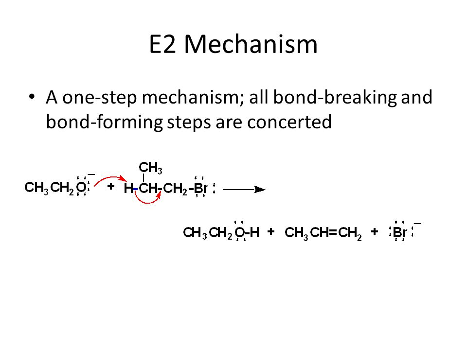 E2 Mechanism A one-step mechanism; all bond-breaking and bond-forming steps are concerted