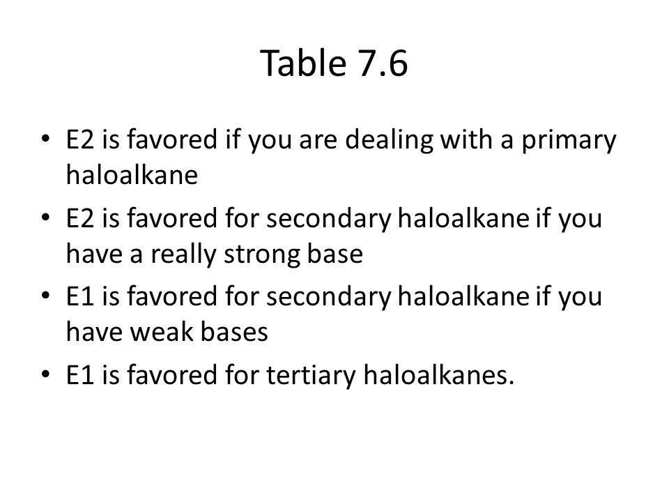 Table 7.6 E2 is favored if you are dealing with a primary haloalkane