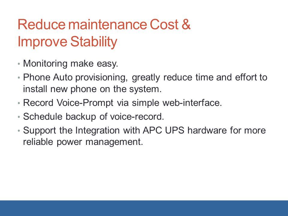 Reduce maintenance Cost & Improve Stability