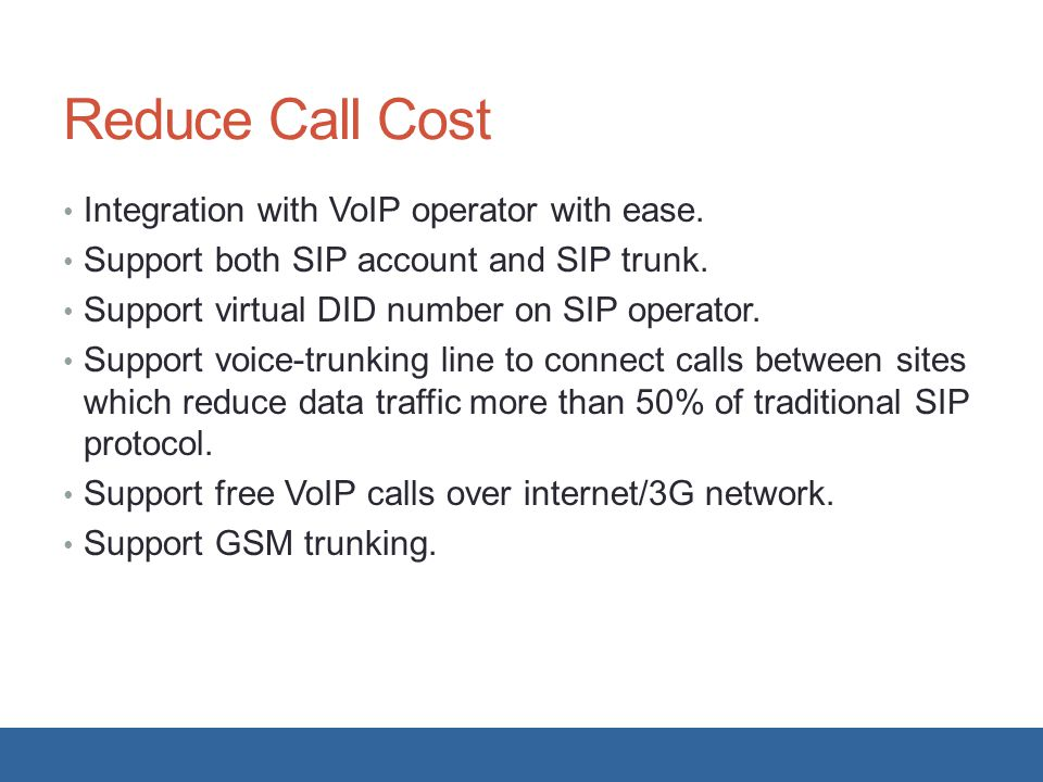 Reduce Call Cost Integration with VoIP operator with ease.