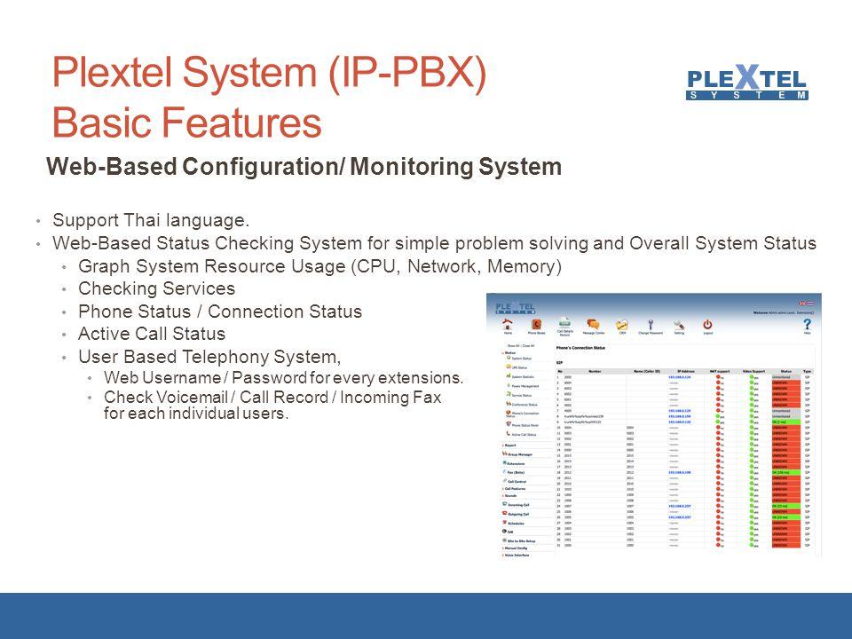 Plextel System (IP-PBX) Basic Features