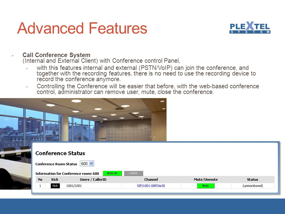 Advanced Features Call Conference System (Internal and External Client) with Conference control Panel,