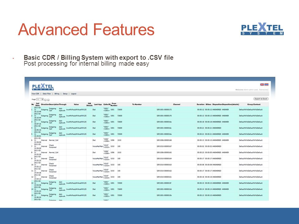 Advanced Features Basic CDR / Billing System with export to .CSV file Post processing for internal billing made easy.