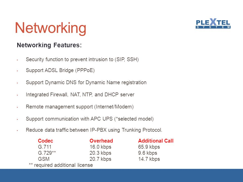 Networking Networking Features: