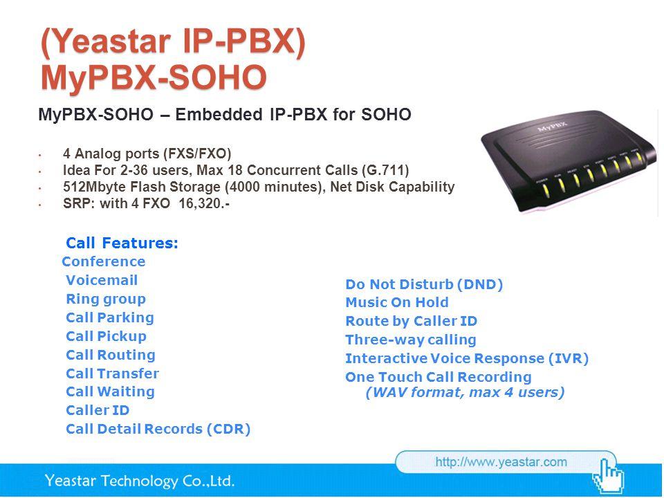 (Yeastar IP-PBX) MyPBX-SOHO MyPBX-SOHO – Embedded IP-PBX for SOHO