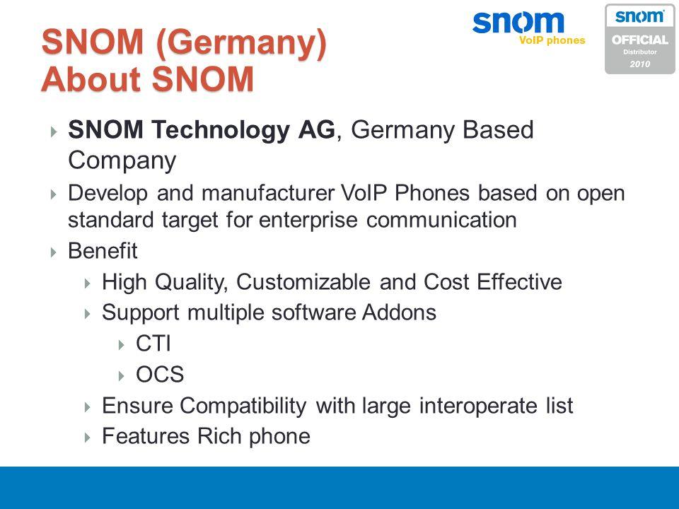 SNOM (Germany) About SNOM SNOM Technology AG, Germany Based Company