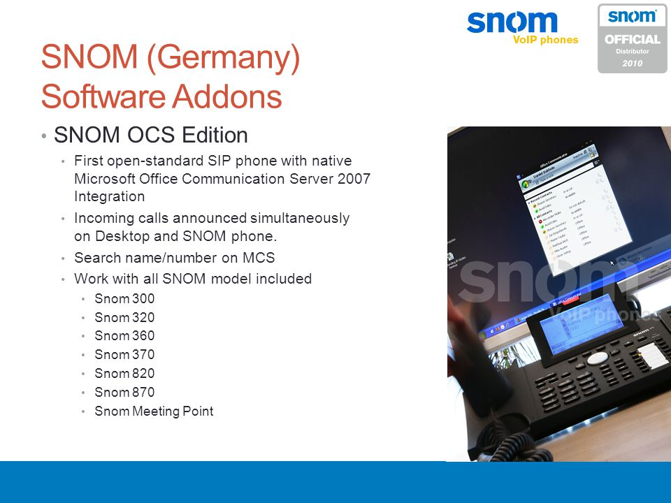 SNOM (Germany) Software Addons