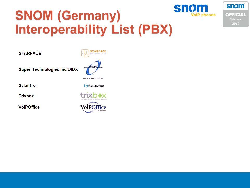 SNOM (Germany) Interoperability List (PBX)