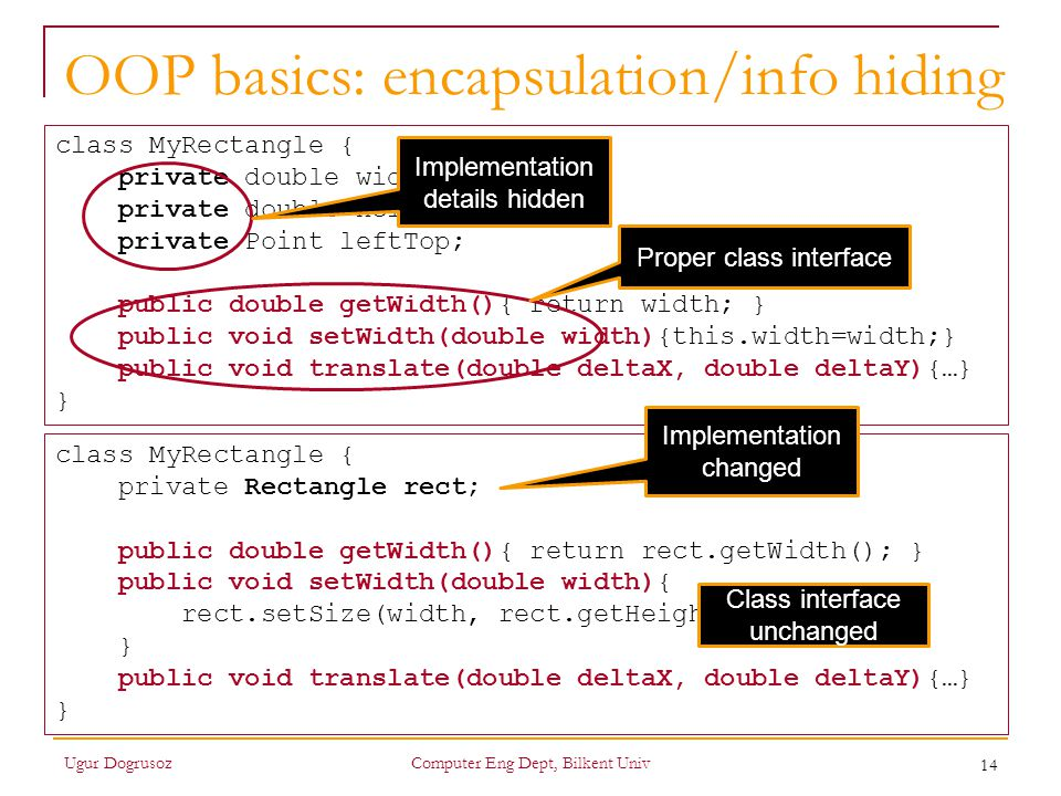 OOP basics: encapsulation/info hiding