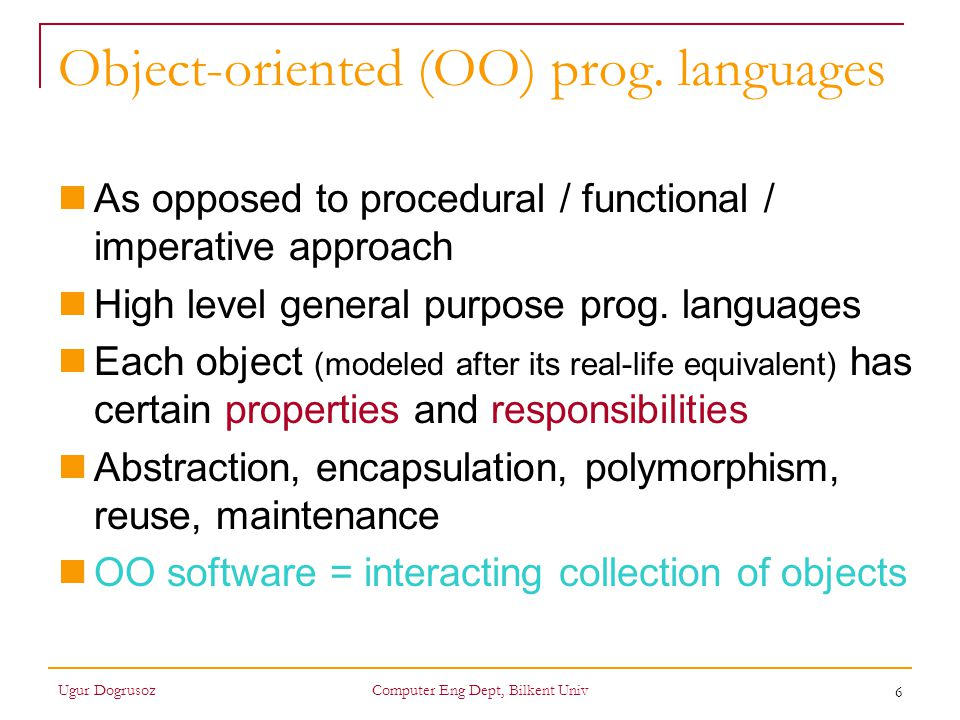 Object-oriented (OO) prog. languages