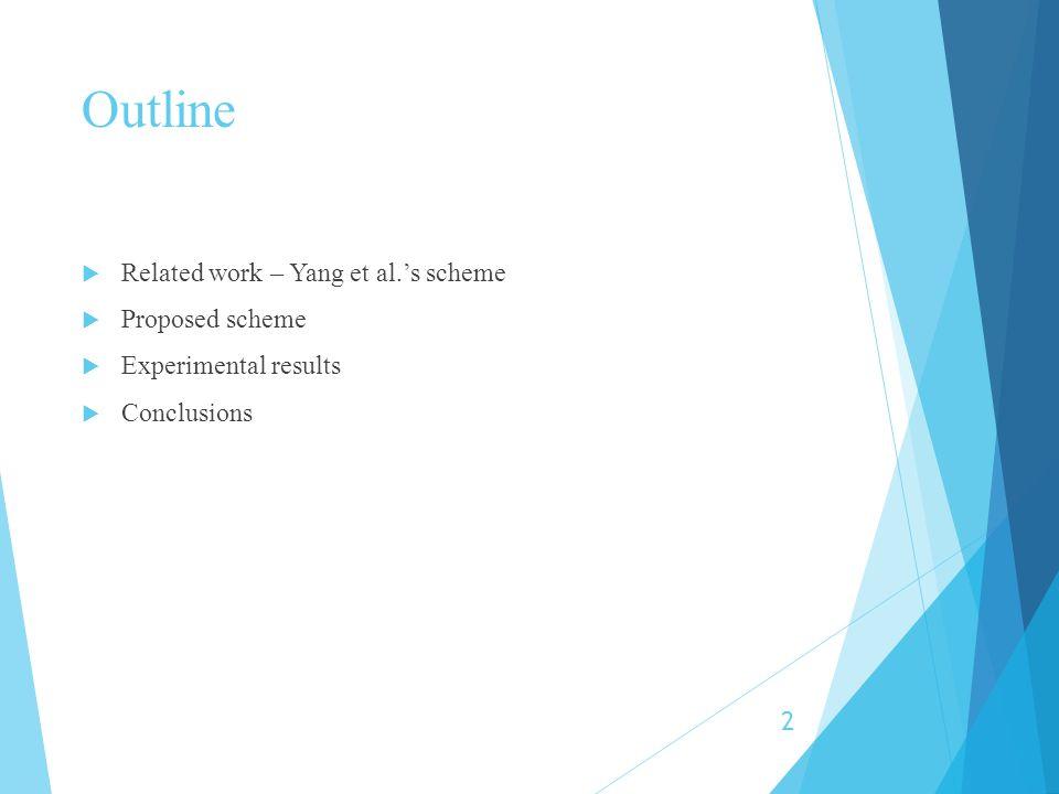 Outline Related work – Yang et al.'s scheme Proposed scheme