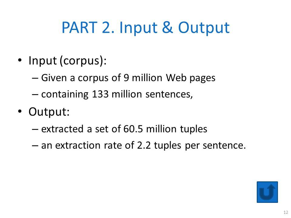 PART 2. Input & Output Input (corpus): Output: