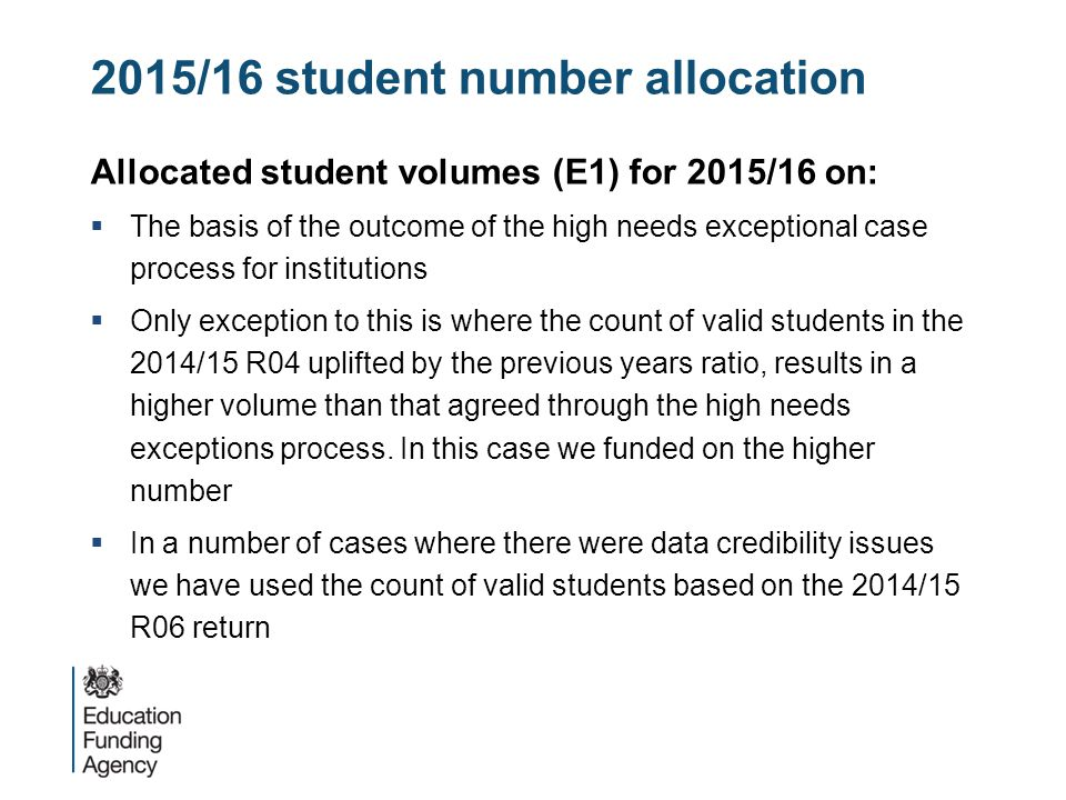 2015/16 student number allocation