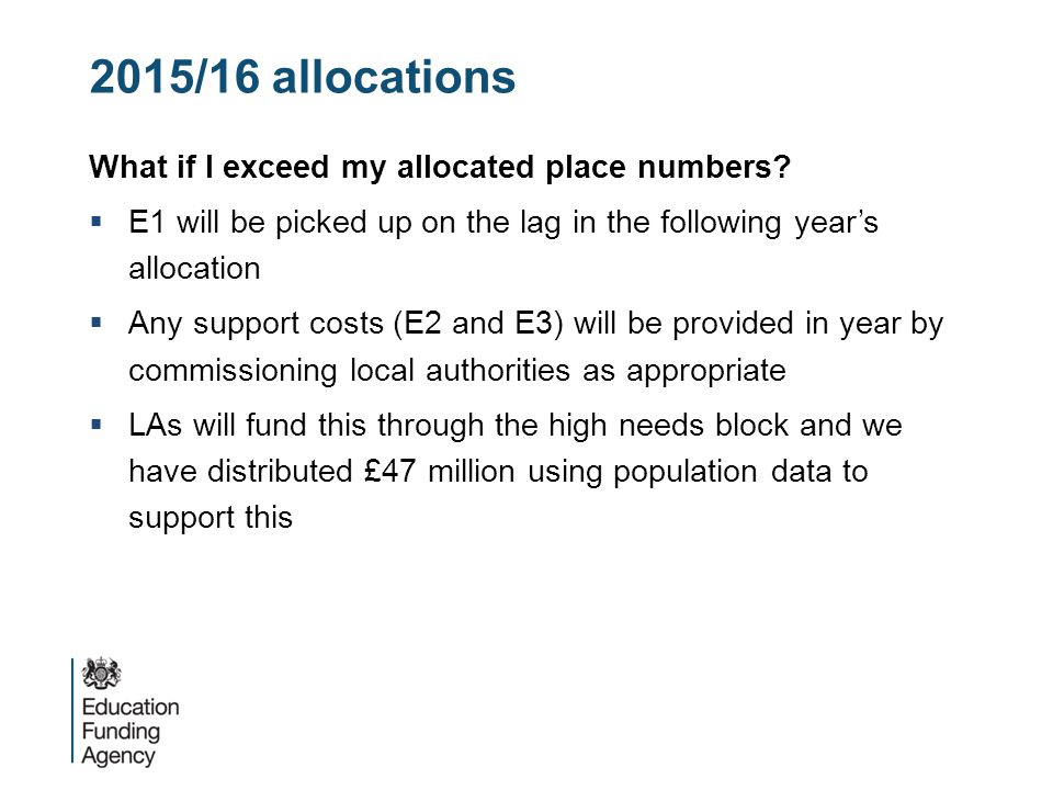 2015/16 allocations What if I exceed my allocated place numbers