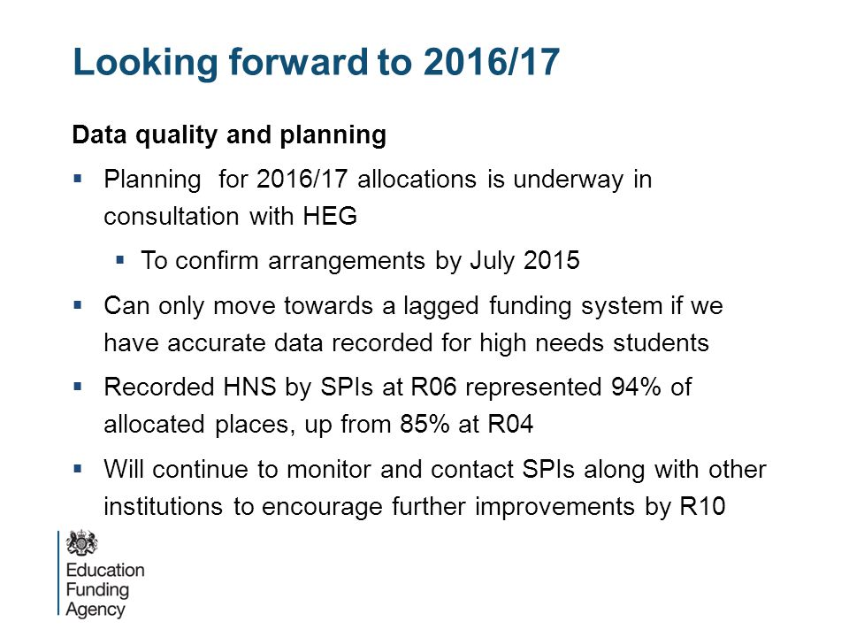 Looking forward to 2016/17 Data quality and planning