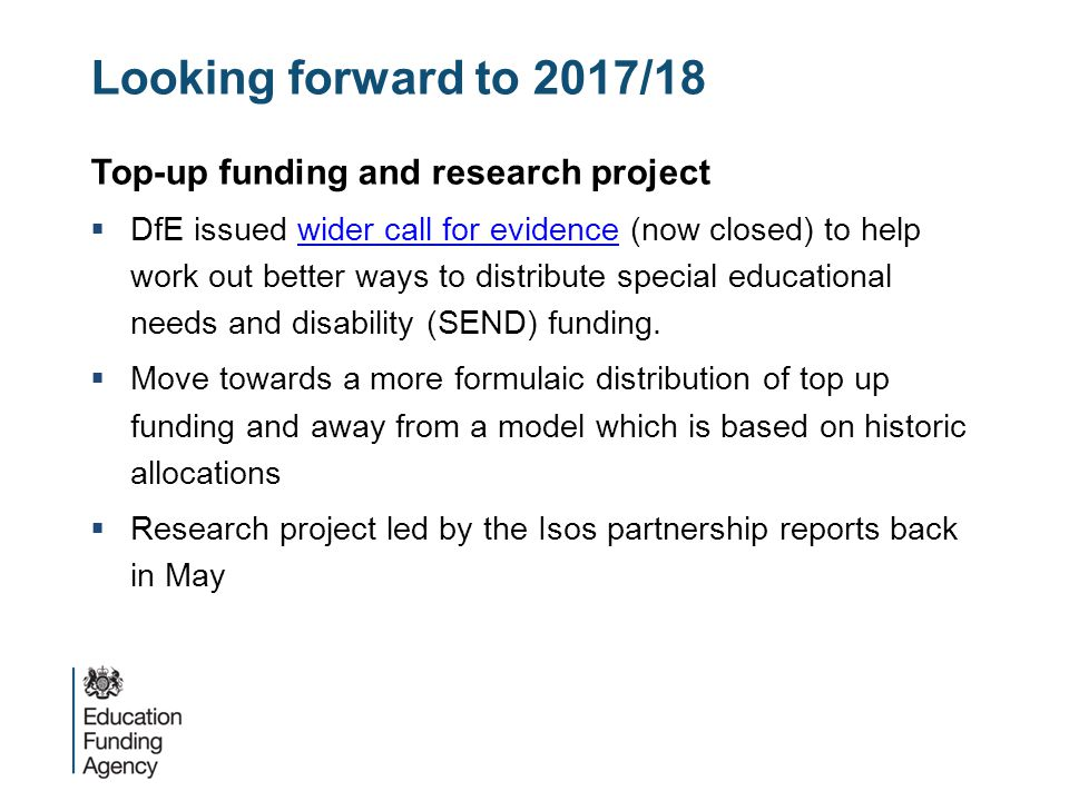 Looking forward to 2017/18 Top-up funding and research project