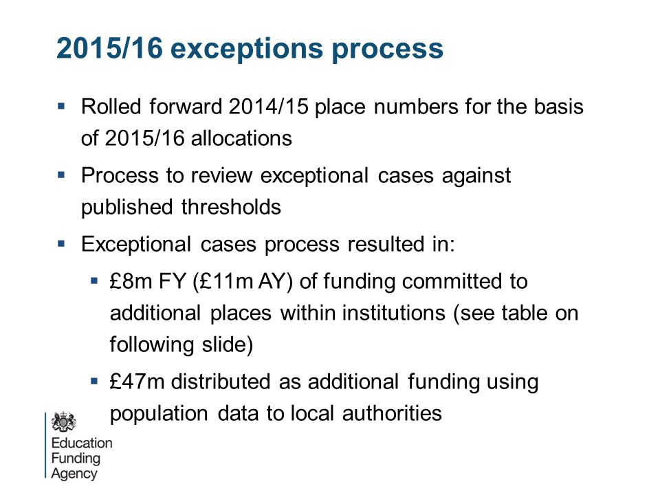 2015/16 exceptions process Rolled forward 2014/15 place numbers for the basis of 2015/16 allocations.