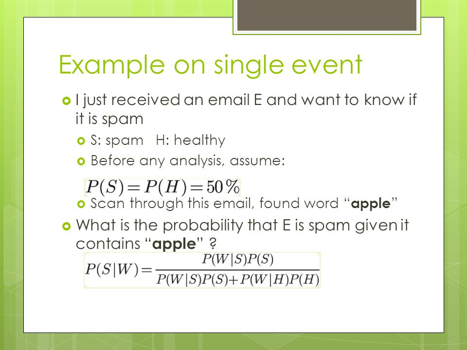 Example on single event