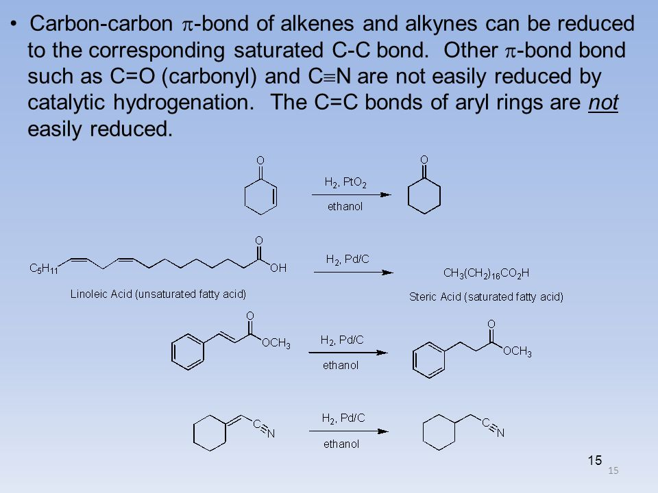 • Carbon-carbon -bond of alkenes and alkynes can be reduced