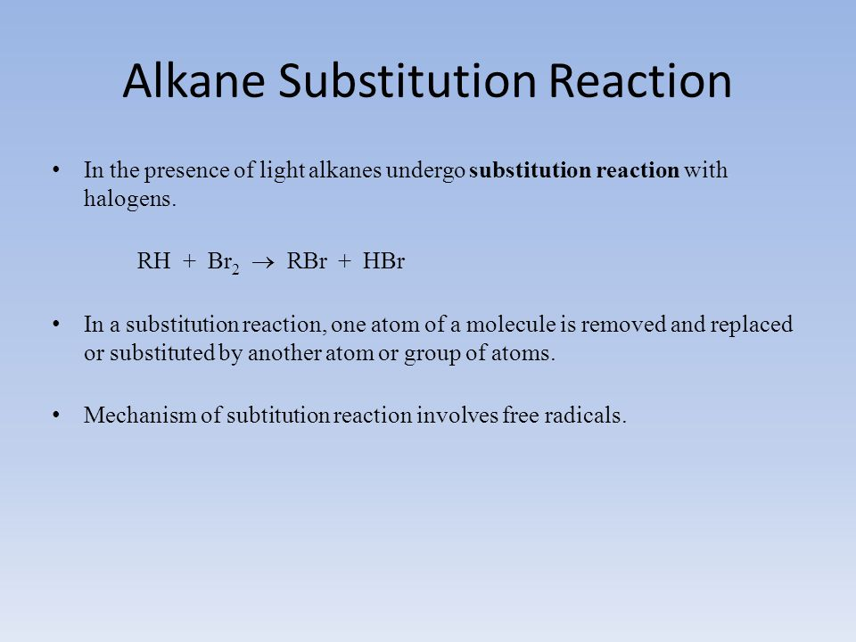 Alkane Substitution Reaction