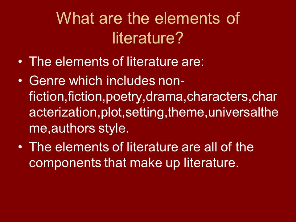 What are the elements of literature