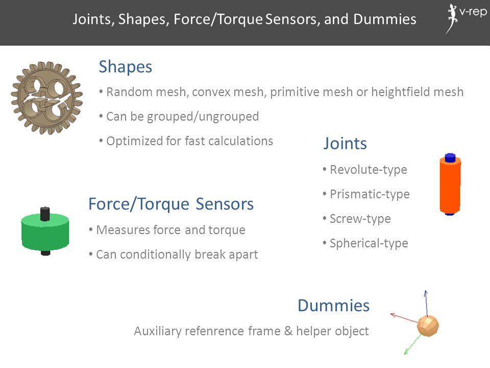 Joints, Shapes, Force/Torque Sensors, and Dummies