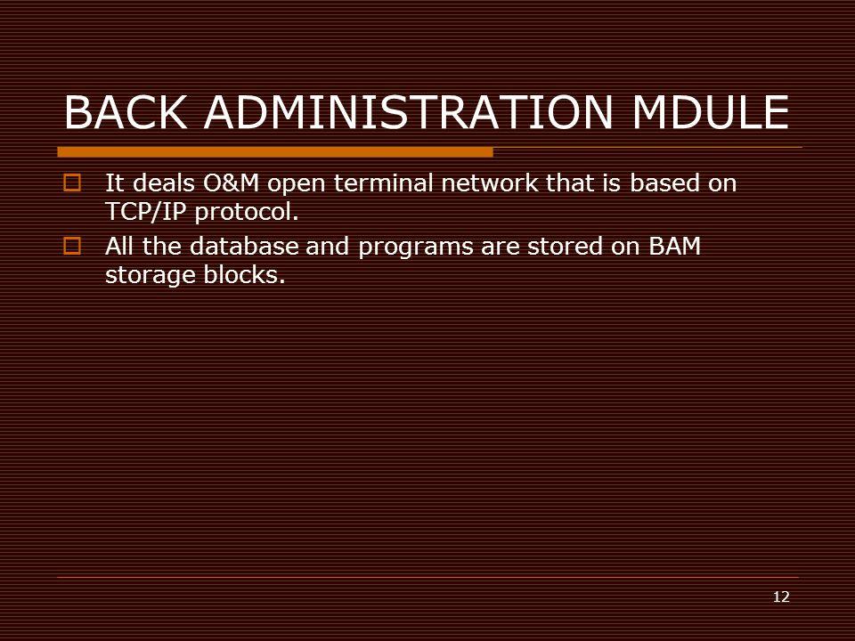 BACK ADMINISTRATION MDULE