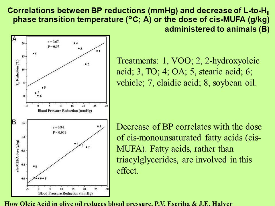 Correlations between BP reductions (mmHg) and decrease of L-to-HII phase transition temperature (°C; A) or the dose of cis-MUFA (g/kg) administered to animals (B)