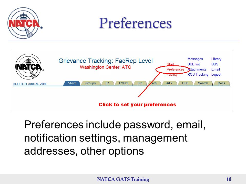 Preferences Preferences include password, email, notification settings, management addresses, other options.