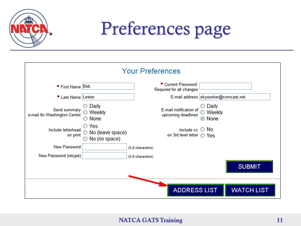 Preferences page NATCA GATS Training NATCA GATS Training
