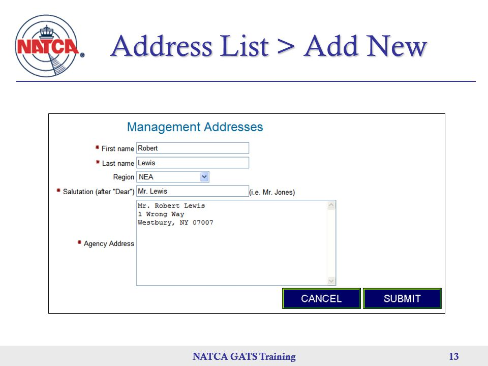 Address List > Add New