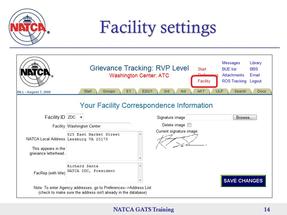 Facility settings NATCA GATS Training NATCA GATS Training