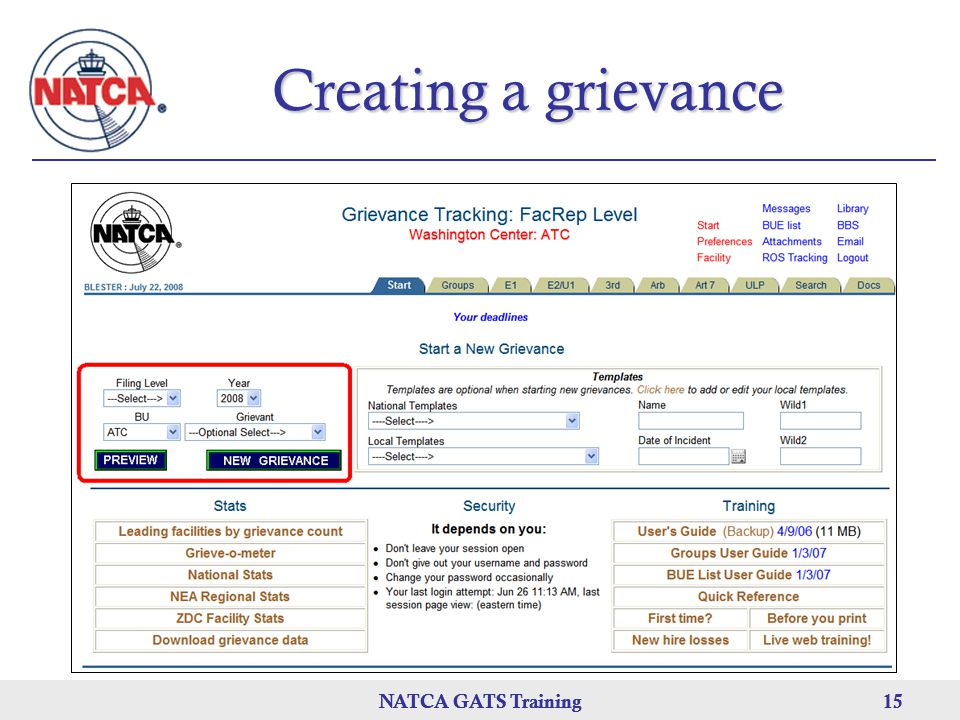 Creating a grievance NATCA GATS Training NATCA GATS Training